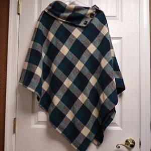 Last Kiss Blue Green Buffalo Plaid Poncho Cape 2X